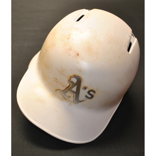 "Photo of Robbie ""RG"" Grossman Oakland Athletics Game-Used 2019 Players' Weekend Helmet"