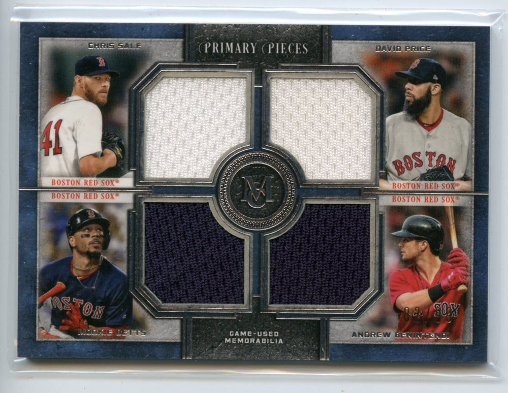 2019 Topps Museum Collection Primary Pieces Four Player Quad Relics #FPRSPBB Price/Benintendi/Betts/