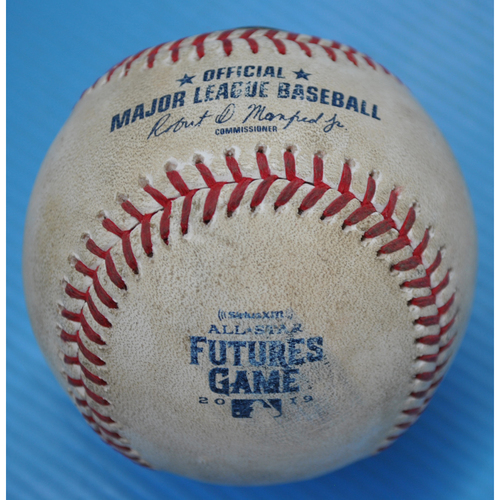 Photo of Game-Used Baseball - 2019 All-Star Futures Game - Pitcher: Deivi Garcia, Batter: Cristian Pache - 1st Inning - Foul