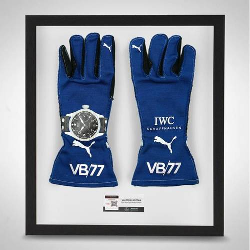 Photo of Valtteri Bottas 2019 Framed Official Race Spec Race Gloves