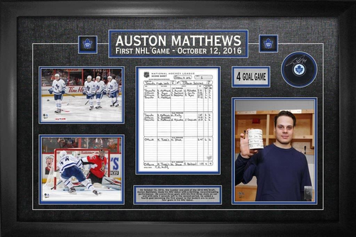 Auston Matthews Signed Puck with First Game Scoresheet Collage Framed
