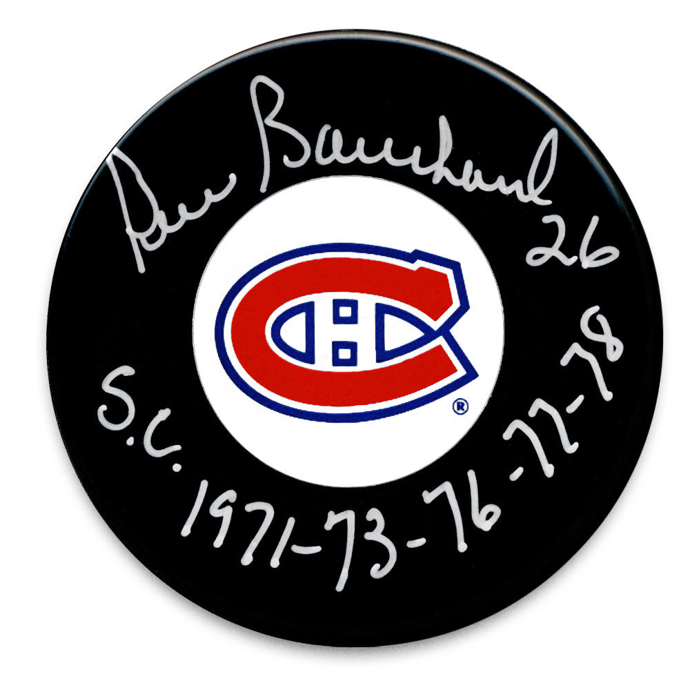 Pierre Bouchard Montreal Canadiens SC Years Autographed Puck