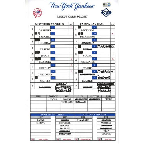 Photo of Yankees at Tampa Bay 5-21-2017 Game-Used Lineup Card