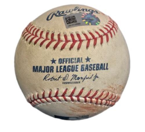 Photo of Game-Used Baseball from Pirates vs. Marlins on 6/10/17 - Christian Yelich Single