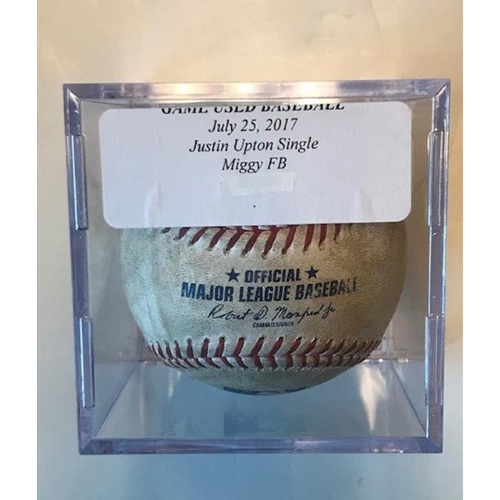 Photo of Game-Used Baseball: Miguel Cabrera Foul Ball & Justin Upton Single