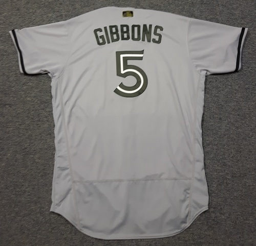 Photo of Authenticated Game Used 2018 Memorial Day Jersey - #5 John Gibbons (May 28, 2018). Size 48