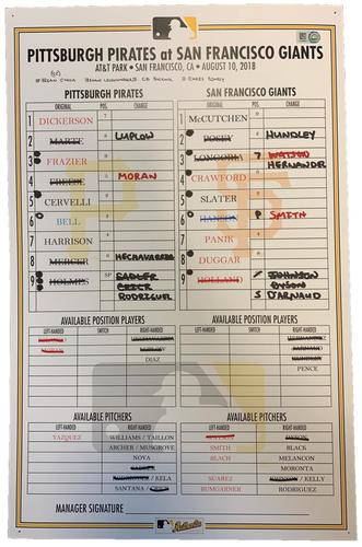 Photo of Game-Used Lineup Card from Pirates vs. Giants on 8/10/18 - Andrew McCutchen Lead Off Home Run