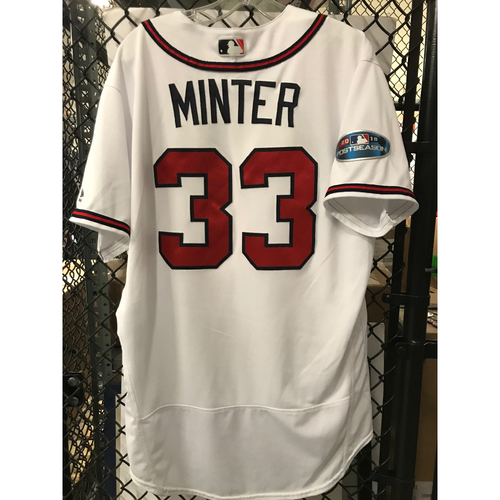Photo of AJ Minter Game-Used 2018 NLDS Jersey - Worn 10/7/18 and 10/8/18 - First Postseason Game at SunTrust Park