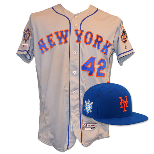Photo of Dave Racaniello #57 - Game Used Road Grey Jackie Robinson #42 Jersey and Hat - Mets vs. Phillies - 4/15/19