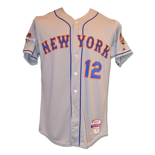 Photo of Juan Lagares #12 - Game Used Road Grey 2015 Postseason Jersey - Mets vs. Dodgers - 10/9/2015 & 10/10/2015
