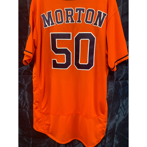 Photo of 2018 Team-Issued Charlie Morton Postseason Orange Alt Jersey - Size 48