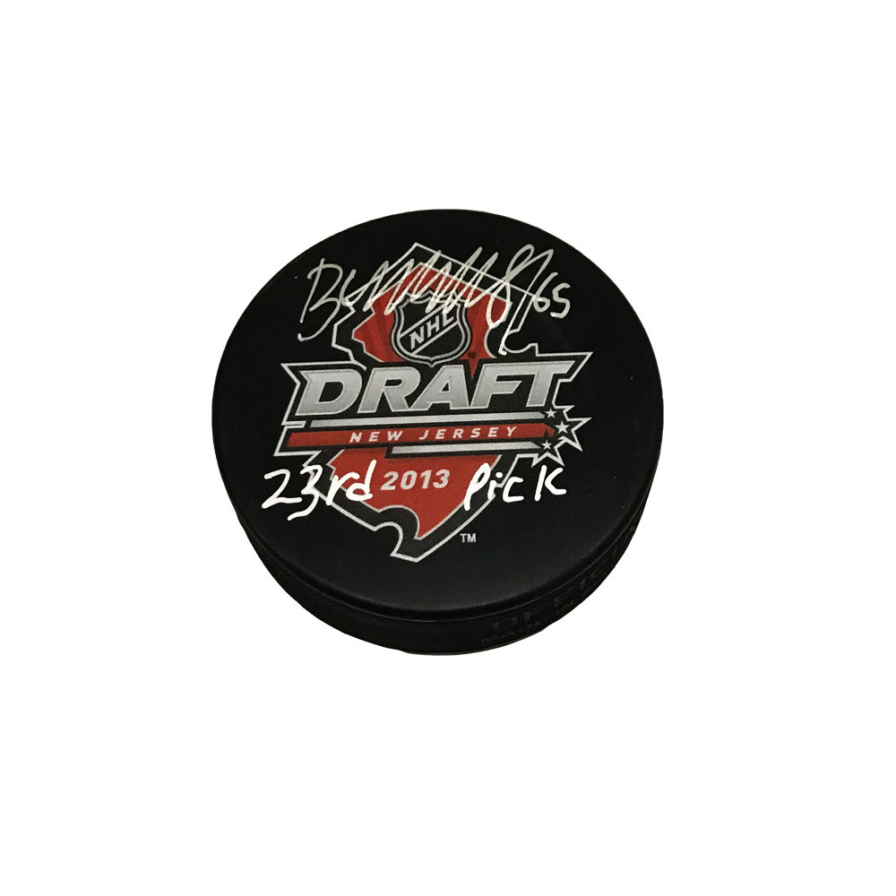 ANDRE BURAKOVSKY Signed 2013 NHL Draft Puck with 23rd Pick Inscription - Washington Capitals