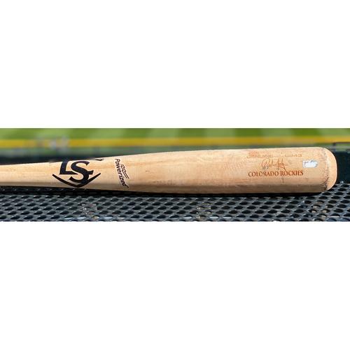 Photo of Colorado Rockies Game-Used Cracked Bat - Daniel Murphy Single to Jorge Mateo - Padres at Rockies - August 28, 2020.