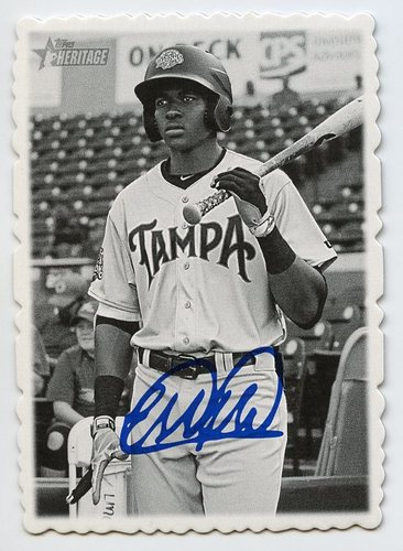 Photo of 2018 Topps Heritage Minors '69 Deckle Edge #14 Estevan Florial -- Facsimile autograph