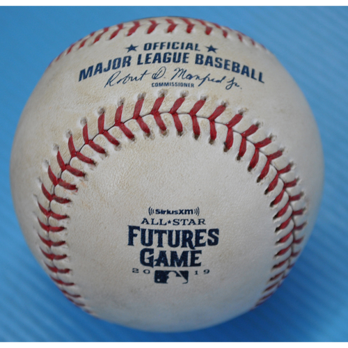 Photo of Game-Used Baseball - 2019 All-Star Futures Game - Pitcher: Jordan Balazovic, Batter: Gavin Lux - 7th Inning - Foul