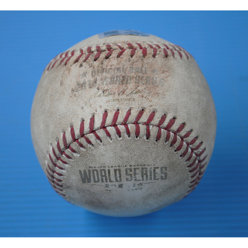 Photo of Game-Used Baseball - 2014 World Series - Game 2 - Pitcher: Jake Peavy, Batter: Alcides Escobar - Pitch in the Dirt, Strike Out Swinging - 5th Inning