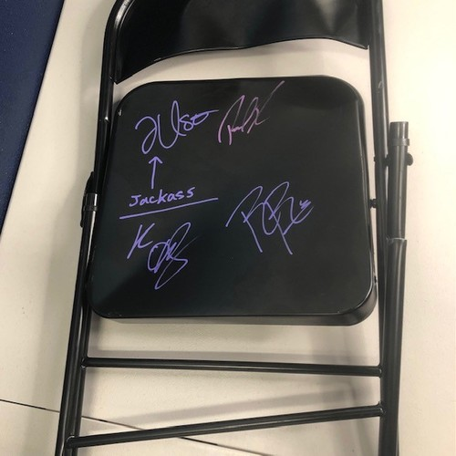 Photo of Roman Reigns, Paul Heyman, Jey Uso, and Kevin Owens SIGNED and USED Chair from TLC 2020
