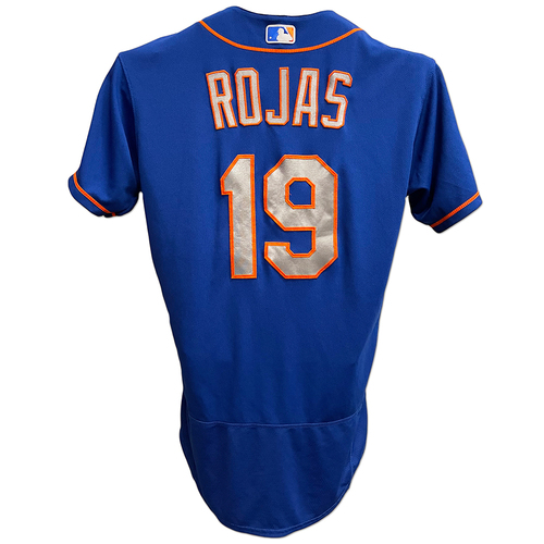 Photo of Luis Rojas #19 - Team Issued Blue Alt. Road Jersey with Seaver Patch - 2020 Season