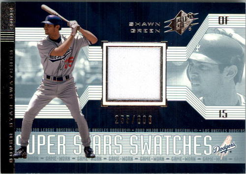 Photo of 2002 SPx SuperStars Swatches Silver #188 Shawn Green