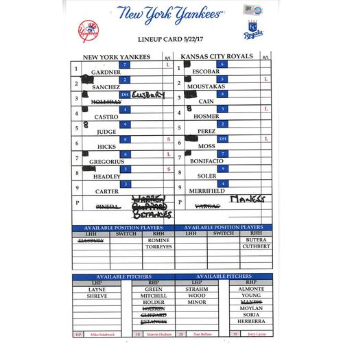 Photo of Kansas City at Yankees 5-22-2017 Game-Used Lineup Card