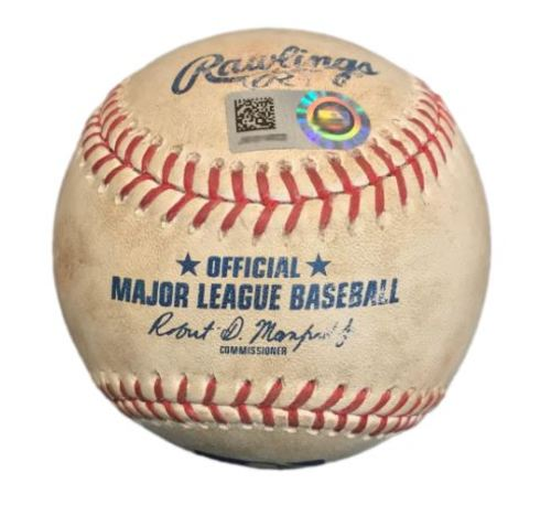 Photo of Game-Used Baseball from Pirates vs. Marlins on 6/10/17 - Marcell Ozuna Double