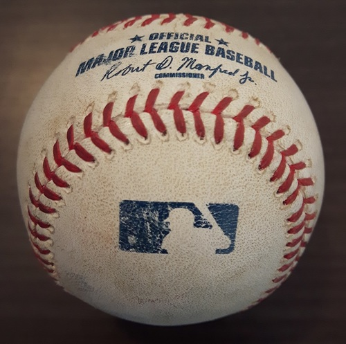 Photo of Authenticated Game Used Baseball - Passed ball pitched by Anthony DeSclafani to Russell Martin (April 4, 2015 vs Cincinnati: Spring Training Exhibition Game in Montreal)