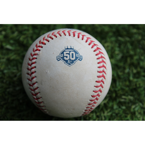 Photo of Game-Used Baseball: Yadier Molina 352nd Career Double (STL @ KC - 8/11/18)