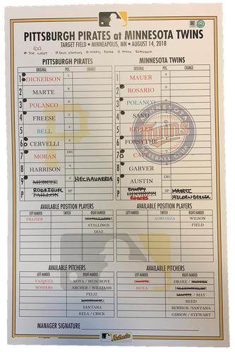 Photo of Game-Used Lineup Card from Pirates vs. Twins on 8/14/18