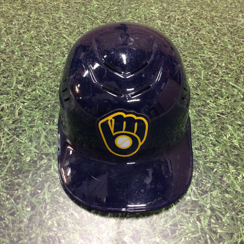 Photo of Manny Pina 2018 Team-Issued Navy Ball & Glove Skull Helmet