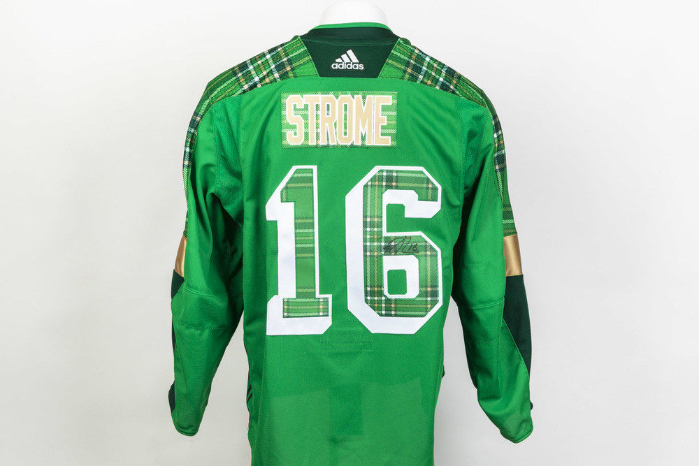 Autographed Ryan Strome Commemorative St. Patrick's Day Jersey worn in warm-ups on March 19th vs Detroit- New York Rangers