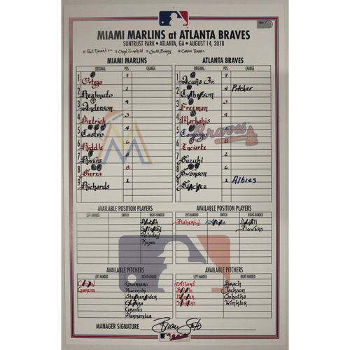 Photo of Game Used Lineup Card - 8/14/2018 - Acuna Hit Two Home Runs - Acuna Becomes the Youngest Player in MLB History to Hit a Home Run in 5 Straight Games