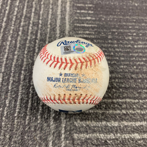 Photo of 2019 Game Used Baseball vs. Milwaukee Brewers - 6/15/19 - B-8: Alex Claudio to Stephen Vogt RBI Single to SS (Brandon Belt Scores) & Pablo Sandoval Singles to RF