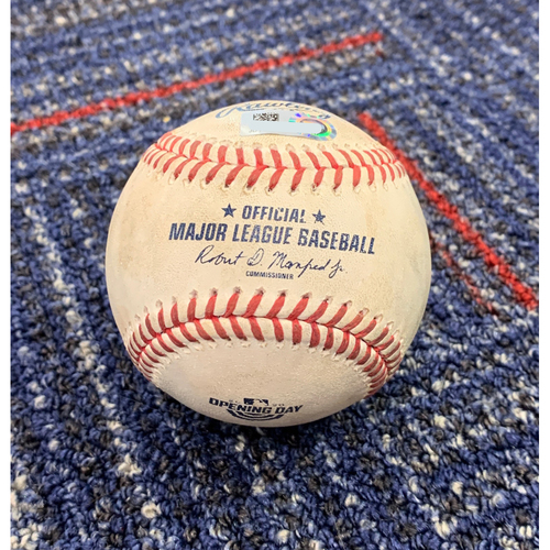 Photo of Opening Day 2020 Game-Used Baseball: Shane Bieber Strikeout