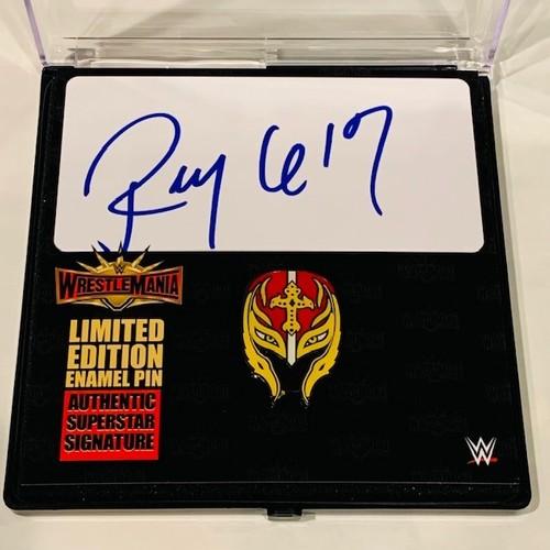 Photo of Rey Mysterio SIGNED WrestleMania 35 Logo Pin