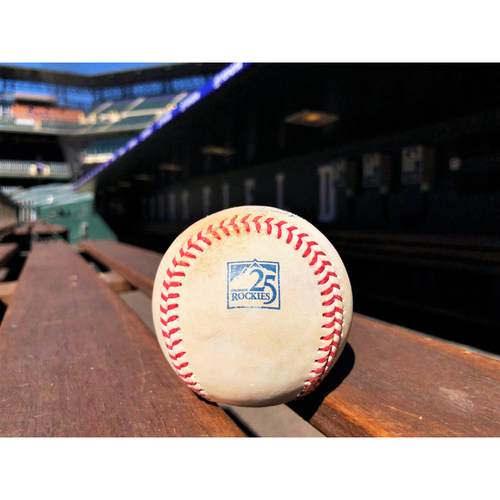 Photo of Colorado Rockies Game-Used Baseball - Marquez v. Frazier - Sacrifice Fly, Nimmo Scores - June 19, 2018