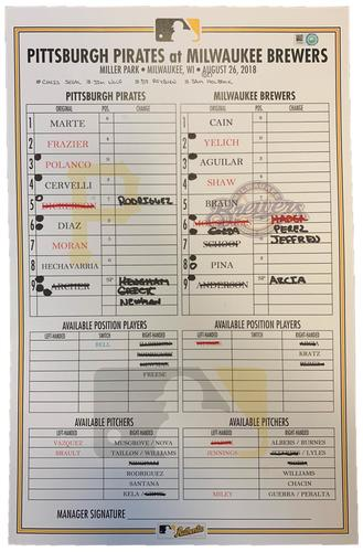Photo of Game-Used Lineup Card from Pirates vs. Brewers on 8/26/18