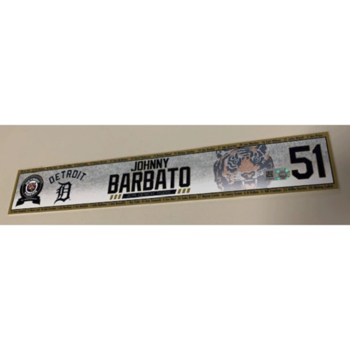 Photo of 2018 Game-Used Locker Name Plate: Jonny Barbato