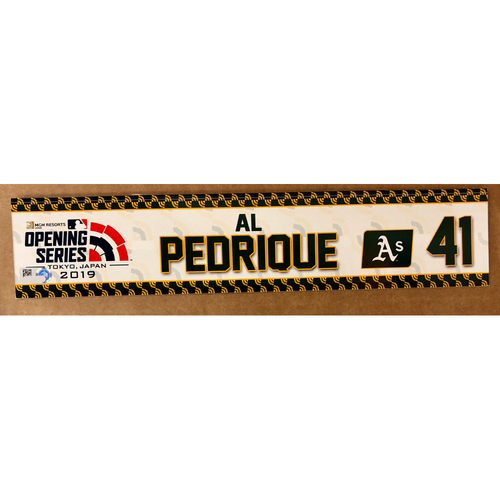 Photo of 2019 Japan Opening Day Series - Game Used Locker Tag - Al Pedrique -  Oakland Athletics