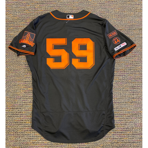 Photo of 2019 Game Used Gigantes Black Home Alt Jersey worn by #59 Andrew Suarez on 9/14 vs. MIA - Size 46