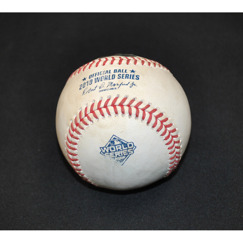 Photo of Game-Used Baseball - 2019 World Series - Game 2 - Pitcher: Stephen Strasburg, Batter: Michael Brantley - Single to RF - 3rd Inning
