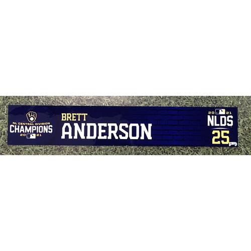 Photo of Brett Anderson 2021 Team-Issued NLDS Locker Nameplate