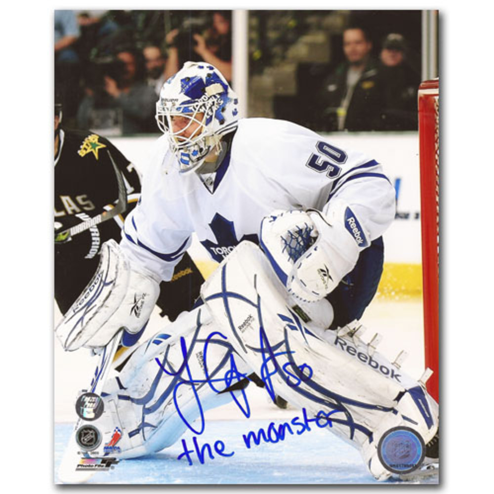 Jonas Gustavsson Autographed Toronto Maple Leafs 8X10 Photo w/THE MONSTER Inscription (Detroit Red Wings)