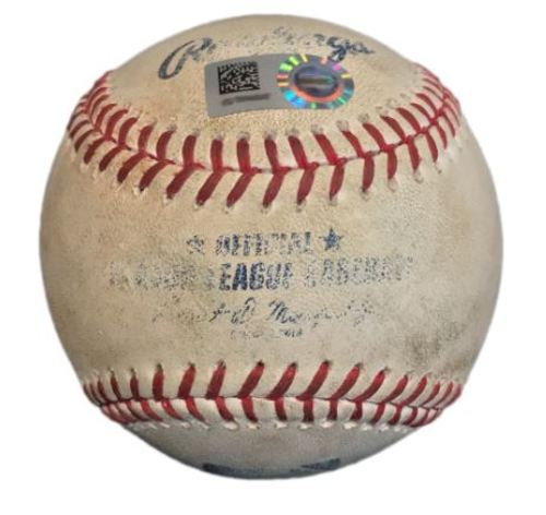 Photo of Game-Used Baseball from Pirates vs. Cardinals on 7/15/17 - Polanco Double, Cervelli Ground Out, Mercer Line Out