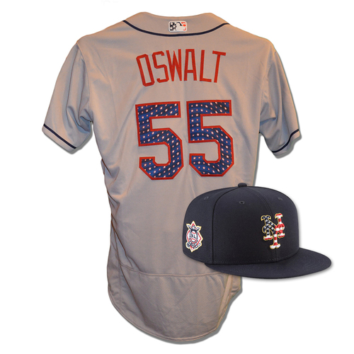 Photo of Cory Oswalt #55 - Game Used 4th of July Jersey and Hat - Oswalt 4 IP, 2 ER, 2 K's - Mets vs. Blue Jays - 7/4/18