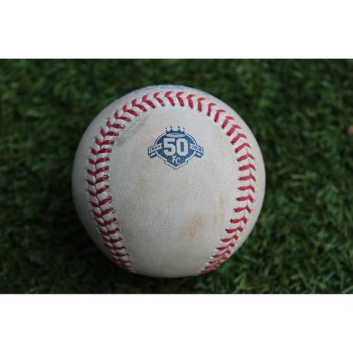 Photo of Game-Used Baseball: Marcell Ozuna 19th Career Triple and 422nd Career RBI (STL @ KC - 8/11/18)