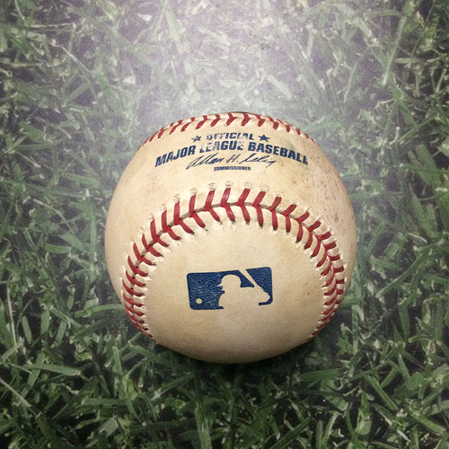 Photo of Game-Used Baseball WSH@MIL 07/23/10 - Chris Narveson - Nyjer Morgan: Strikeout