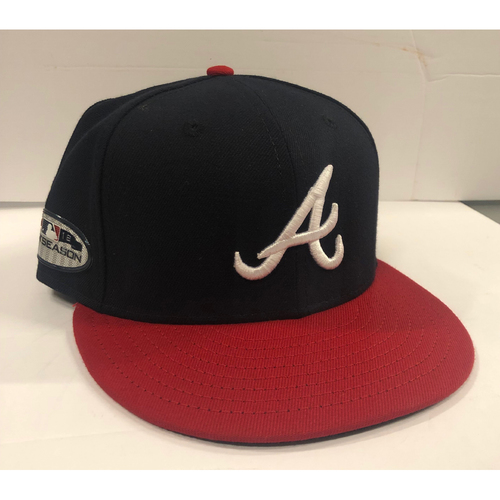 Photo of Ozzie Albies Game Used 2018 Postseason Cap - Worn 10/7/18, 10/8/18 NLDS