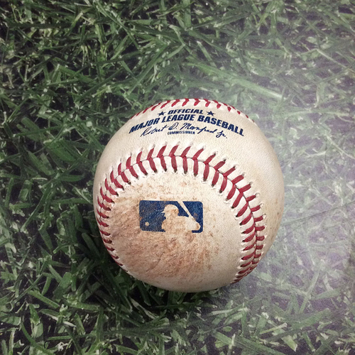 Photo of Game-Used Baseball NYM@MIL 05/03/19 - Brandon Woodruff - Pete Alonso: Single