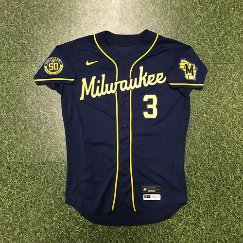 Photo of Orlando Arcia 2020 Game-Used Road Navy Spring Training Jersey