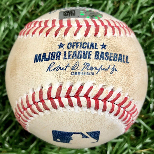 Photo of Game Used Baseball: Charlie Morton strikes out Jean Segura - Mike Zunino throws out Didi Gregorius stealing second base - September 25, 2020 v PHI
